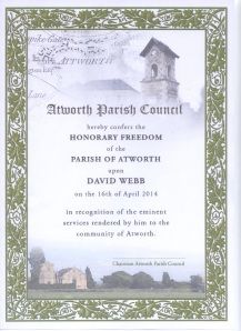 Freeman of Atworth Certificate 2014