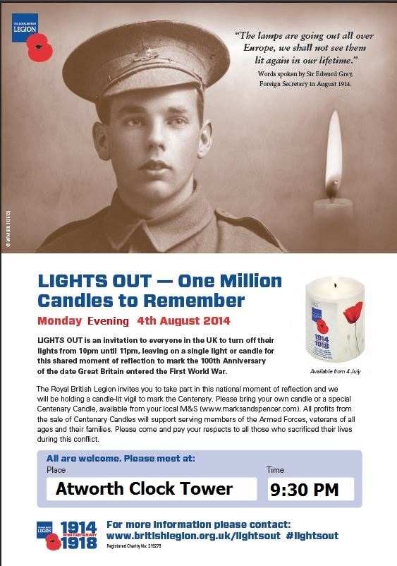 Poster of First World War soldier advertising Lights Out 2014