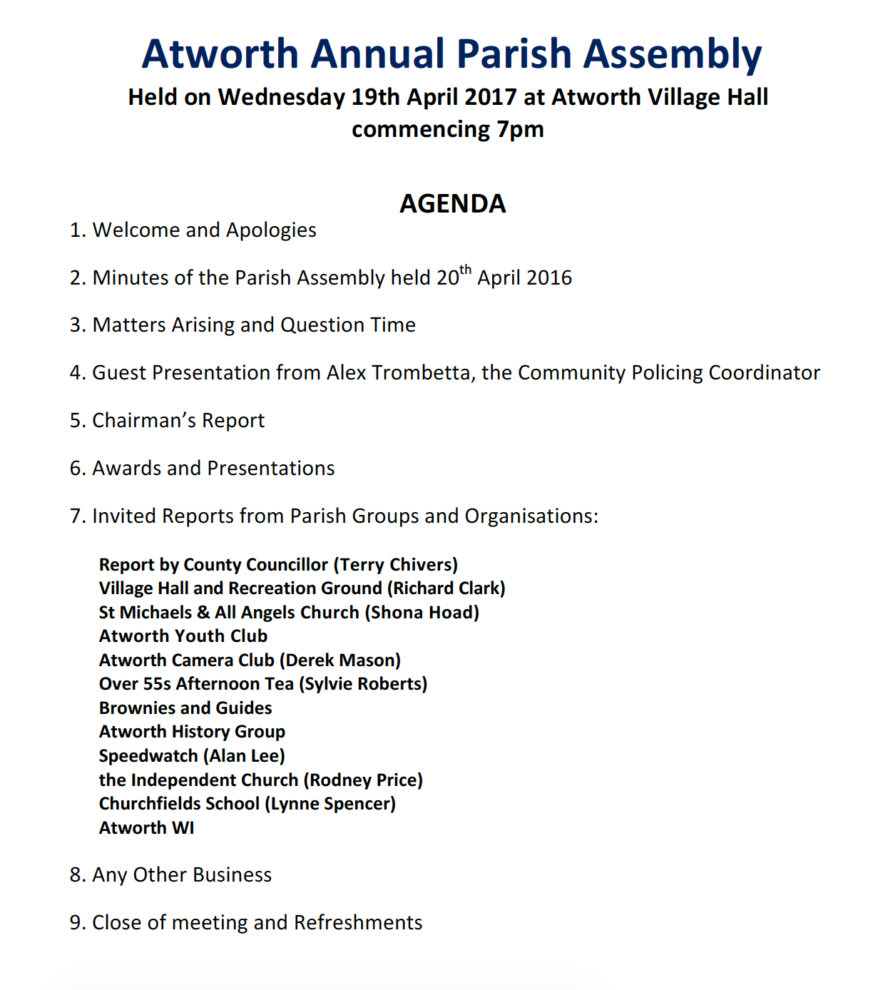 Pic Annual Parish Assembly 19 April 17